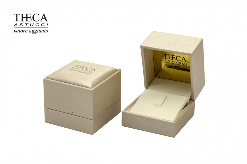 Jewelry boxes Jewelry box leatherette Atlas gold Atlas gold presentation box for ring earring 65x67x55 cream