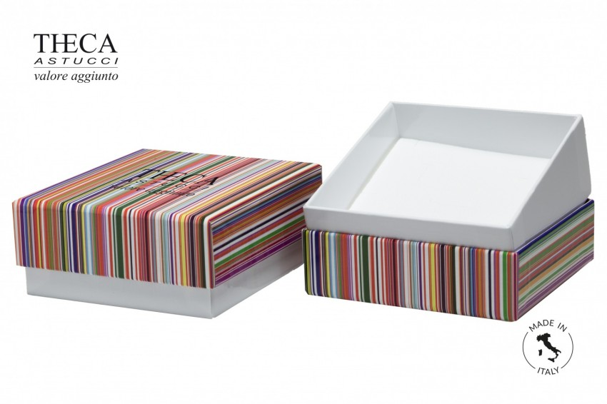 Jewelry box Paper box with shopper Mille righe Millerighe all-purpose 95x95x44(27) + shopper