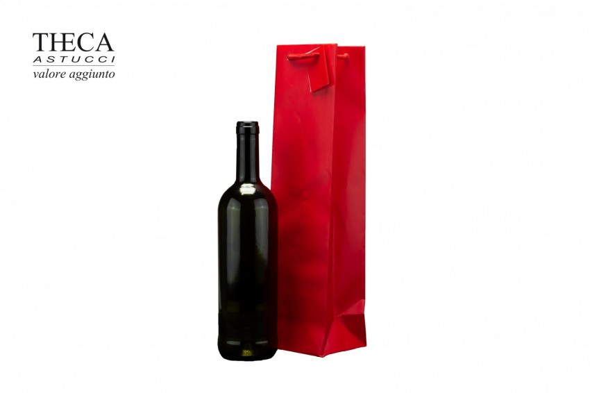 Wine packaging Laminated shopping bag Wine shopper lux Wine shopper lux 11,5+11,5x42 red