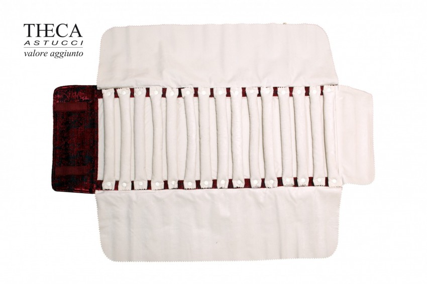Jewelry pouch rolls Pouch rolls Samit Samit pouch roll 15 rings burgundy