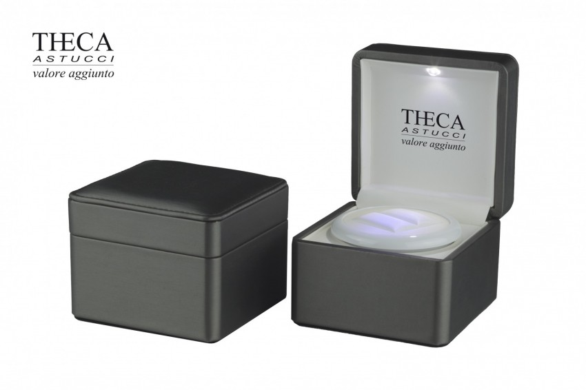Jewelry boxes Jewelry box with led light Clara Clara presentation box for ring 102x102x80 grey