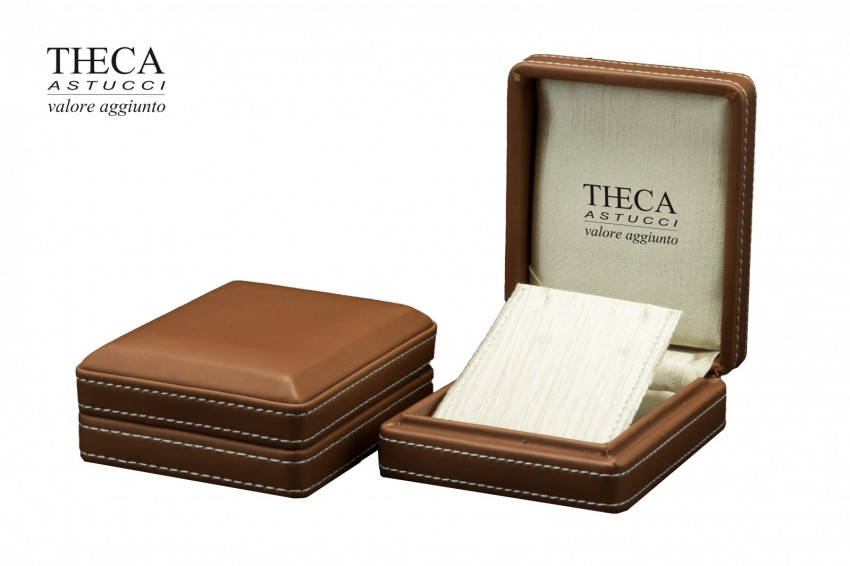 Jewelry boxes Jewelry box leatherette Costura Costura presentation box for earrings pendant 85x104x42 chocolate