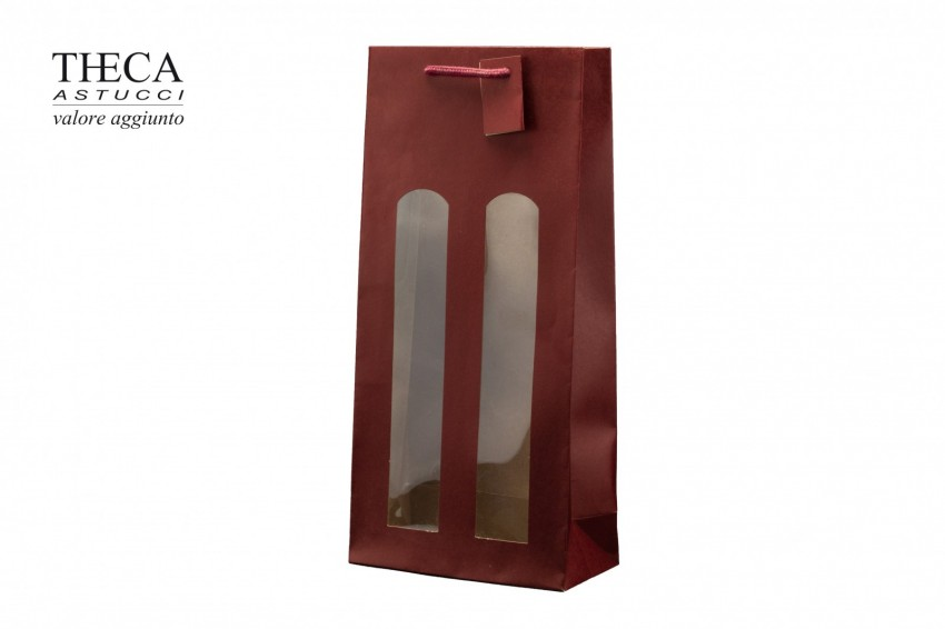 Wine packaging Kraft shopping bag Atena shopper finestra Atena wine shopper windows 17,5+8,5x37 burgundy
