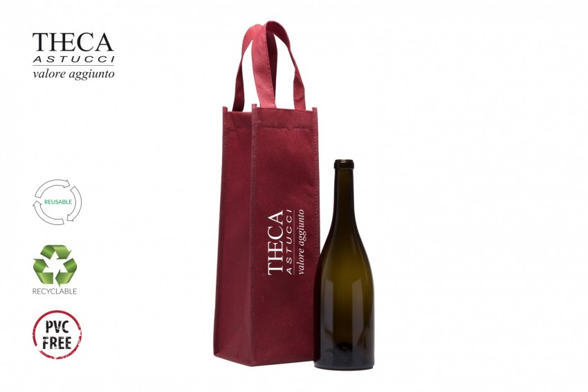 Wine packaging No woven shopping bag Likes shopping bag logo Likes shopper one bottle 12+12x37 red