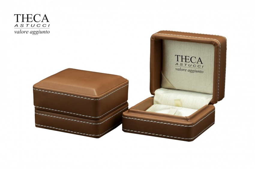 Jewelry boxes Jewelry box leatherette Costura Costura presentation box for ring 80x73x55 chocolate