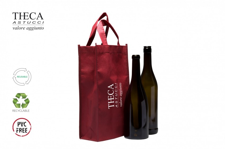 Wine packaging No woven shopping bag Likes shopping bag logo Likes shopper two bottles 19+10x33 red